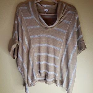Splendid Striped Cowl Neck Lightweight Shir